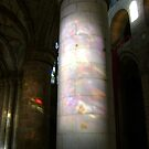 Stained glass onto stone column, Dunfermline Abbey nave by armadillozenith