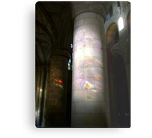 Stained glass onto stone column, Dunfermline Abbey nave Metal Print