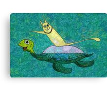 CAT AND MYRTLE C. TURTLE Canvas Print