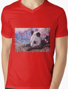 Lazy Panda Mens V-Neck T-Shirt