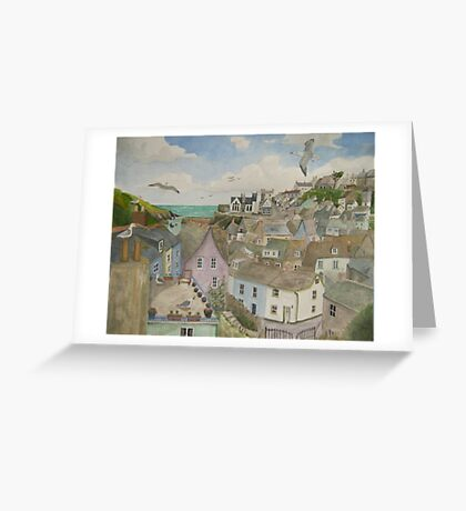 """""""A Crow's Nest View of Port Isaac, Cornwall"""" Greeting Card"""