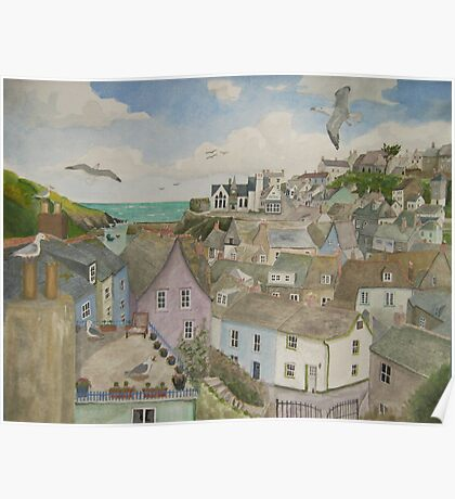 """A Crow's Nest View of Port Isaac, Cornwall"" Poster"