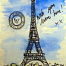 Postcard from Paris II - watercolour on paper by ChristineBetts