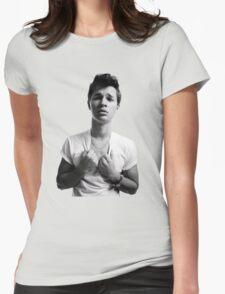 Ansel Elgort - Black & White Womens Fitted T-Shirt