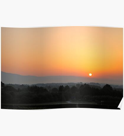 silhouettes of tuscan hills Poster