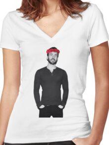 Chris Evans - Flowercrown Women's Fitted V-Neck T-Shirt