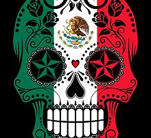 Sugar Skull with Roses and Flag of Mexico by Jeff Bartels