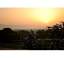 sunrise over tuscan hills with with white flowers in the foreground Photographic Print