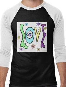 Psychedelic LOVE-Cooltones Men's Baseball ¾ T-Shirt