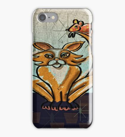 Mid century Modern: Golden Game of Cat and Mouse iPhone Case/Skin