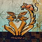 Mid century Modern: Golden Game of Cat and Mouse by Alma Lee