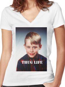 Macaulay Culkin - Thug Life Women's Fitted V-Neck T-Shirt