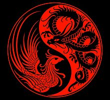 Red and Black Dragon Phoenix Yin Yang by Jeff Bartels