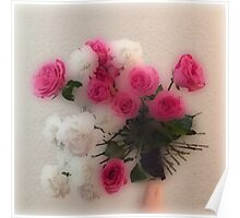 Glassy photo ROSES, pink, red, white and green Poster