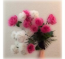 Glassy photo ROSES, pink, red, white and green Photographic Print