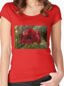 Vivid Scarlet Amaryllis Flowers - Happy Holidays! Women's Fitted Scoop T-Shirt