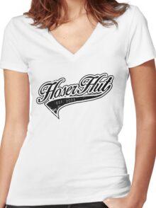 Hoser Hut_Black Women's Fitted V-Neck T-Shirt
