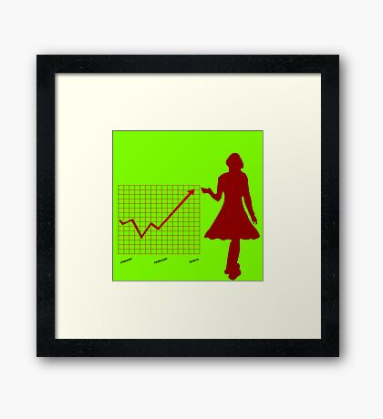 Business chart and women Framed Print