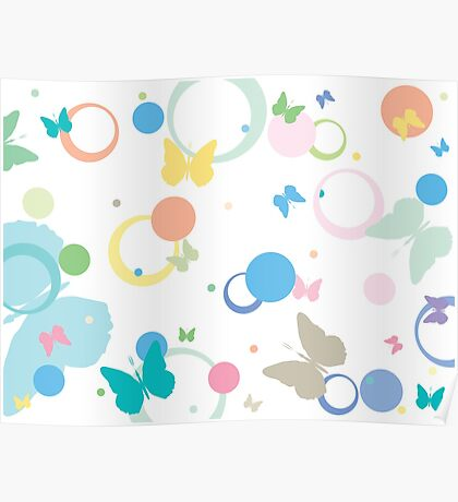 Butterflies and bubbles Poster