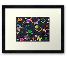 Butterflies and bubbles in retro colors Framed Print