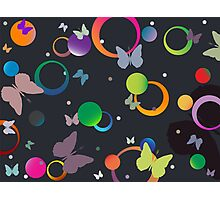 Butterflies and bubbles in retro colors Photographic Print