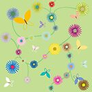 Butterflies and flowers by Laschon Robert Paul