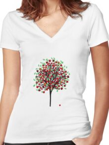 Apple Tree T Shirt Women's Fitted V-Neck T-Shirt