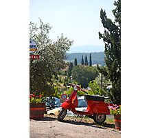 Tuscany Landscape and Scooter Photographic Print
