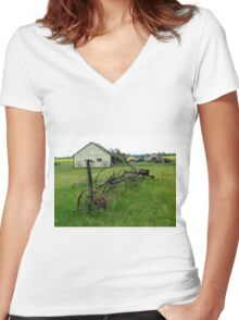 OLD FARM EQUIPMENT Women's Fitted V-Neck T-Shirt