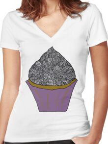 Greyscale Cupcake Doodle Women's Fitted V-Neck T-Shirt