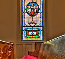 HDR - PLC - Church Pew and Stained Glass by Doug Greenwald