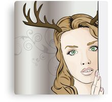Girl with Antlers Canvas Print