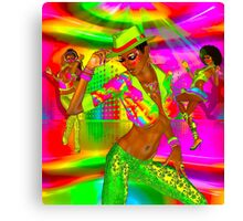 Disco dance party girls on a colorful background Canvas Print