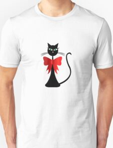 Black stylized cat with red ribbon Unisex T-Shirt