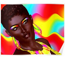 Beautiful Black Woman with colorful make up  Poster