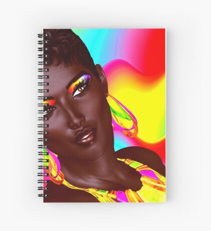 Beautiful Black Woman with colorful make up  Spiral Notebook