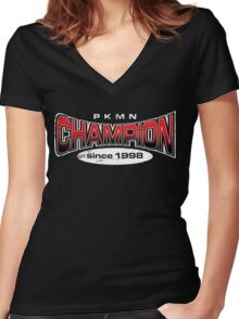 Pokemon Champion_Red_DarkBG Women's Fitted V-Neck T-Shirt
