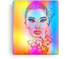 Abstract Girl with Orchid Flowers Canvas Print