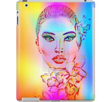 Abstract Girl with Orchid Flowers iPad Case/Skin