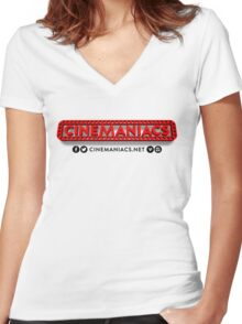 Cinemaniacs 3D LOGO [on white] Women's Fitted V-Neck T-Shirt