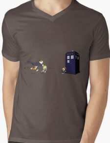 Calvin the Time Lord Mens V-Neck T-Shirt