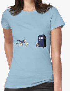 Calvin the Time Lord Womens Fitted T-Shirt