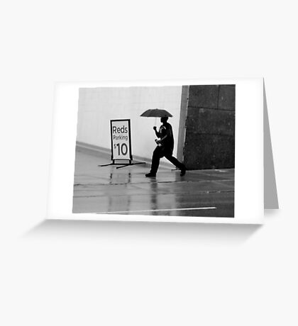 Running in the Rain Greeting Card