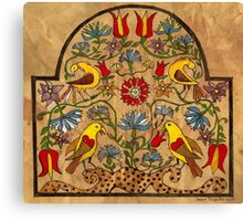 Distelfinks and FLowers from 18th Century Fraktur Canvas Print