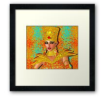Egyptian queen adorned with gold jewelry and armor.  Framed Print