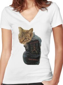 Iron Maiden Cat Women's Fitted V-Neck T-Shirt