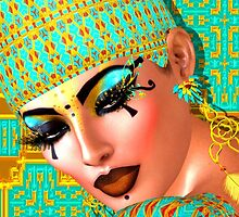 Egyptian queen adorned with gold and turquoise. by TK0920