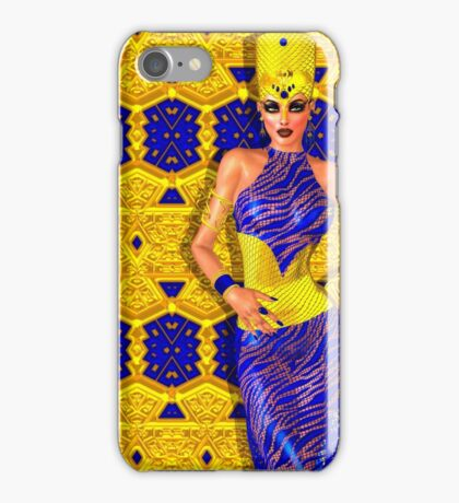 Seductive Egyptian woman in gold and blue. iPhone Case/Skin