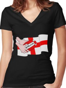 Rugby England Flag Women's Fitted V-Neck T-Shirt