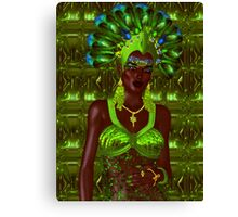 Carnival dancer woman in green feathers Canvas Print